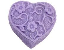 Molde de Silicone Coração de Crochê e Flores