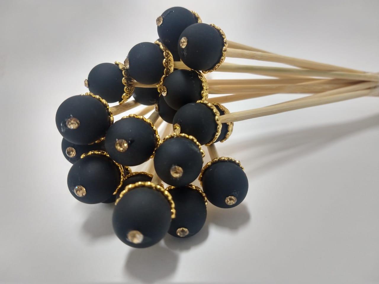 Vareta Pérola Preta - Dourada 25cm