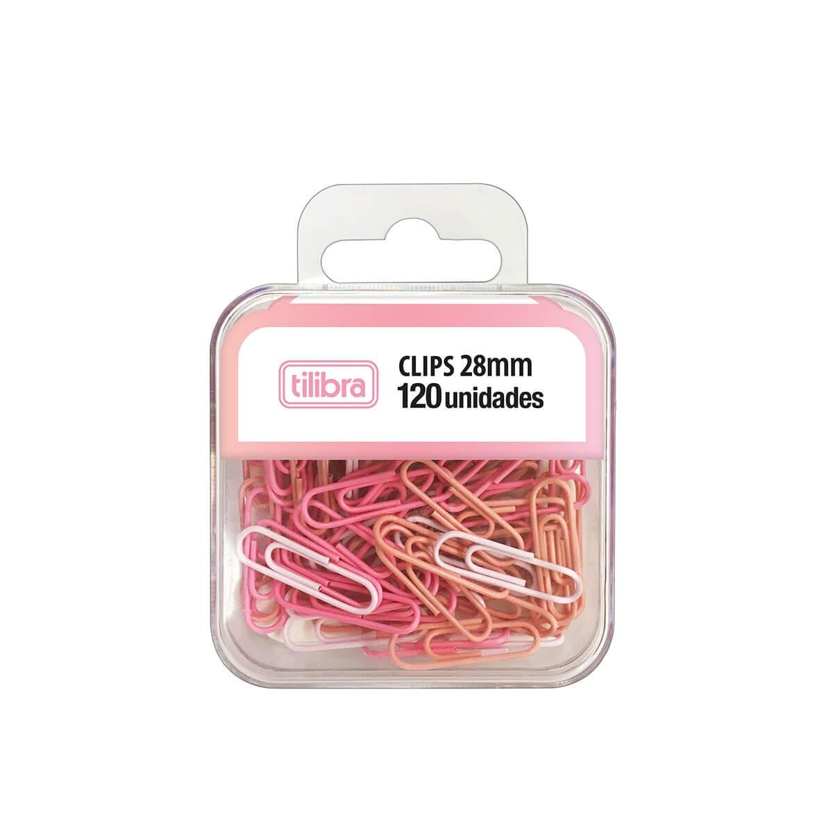 120 Clips Rosa Pastel Tilibra  - Bibiane Papelaria