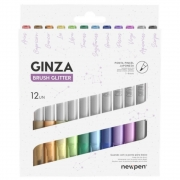 Caneta Ginza Brush Glitter Newpen (Kit)