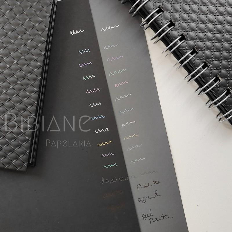 Bloco/Caderneta Preta Luxo Bibiane  - Bibiane Papelaria