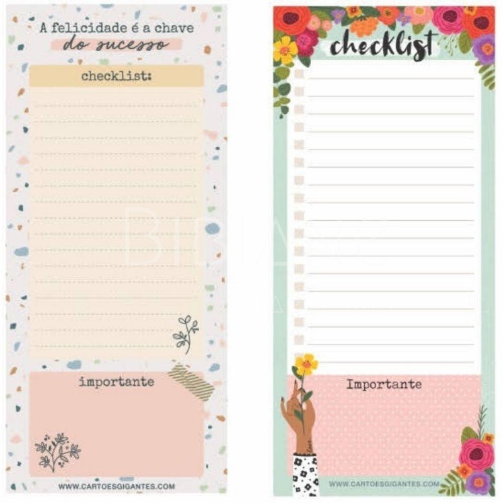 Bloco Checklist Notepad Cartões Gigantes  - Bibiane Papelaria