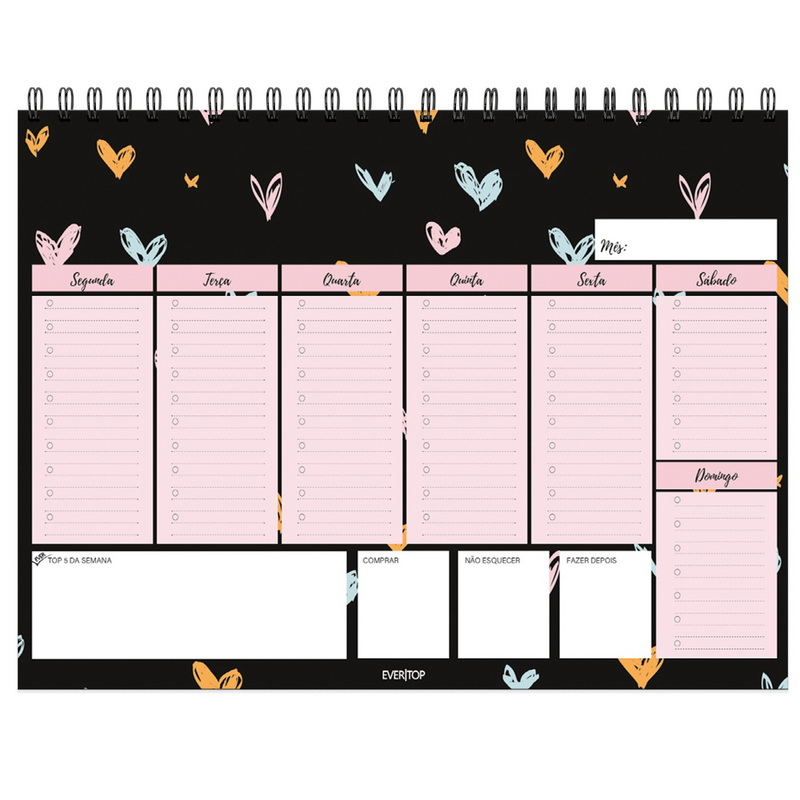 Bloco Planner Semanal de Mesa A4 Evertop  - Bibiane Papelaria