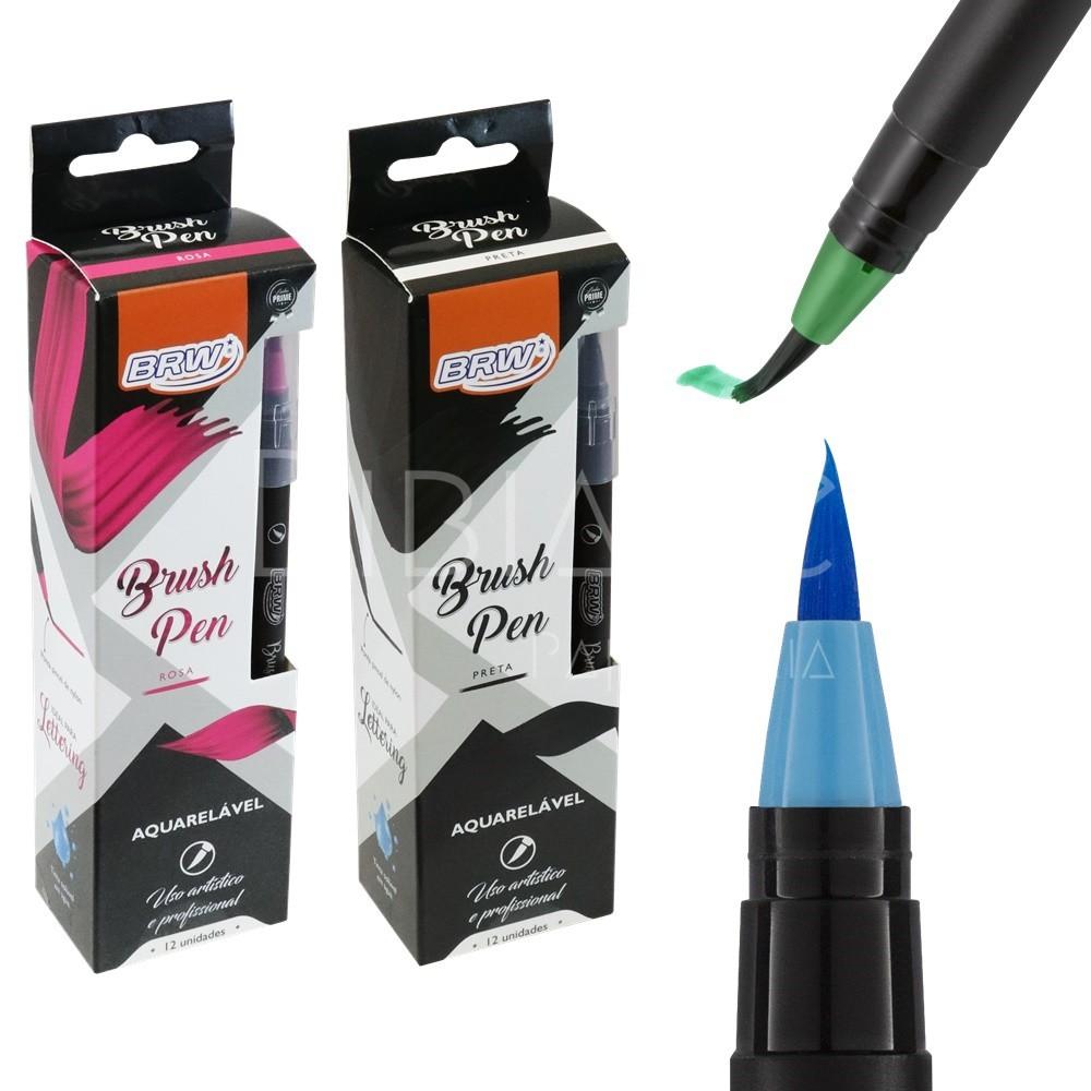 Brush Pen Avulsa Aquarelável (preta ou rosa)  - Bibiane Papelaria