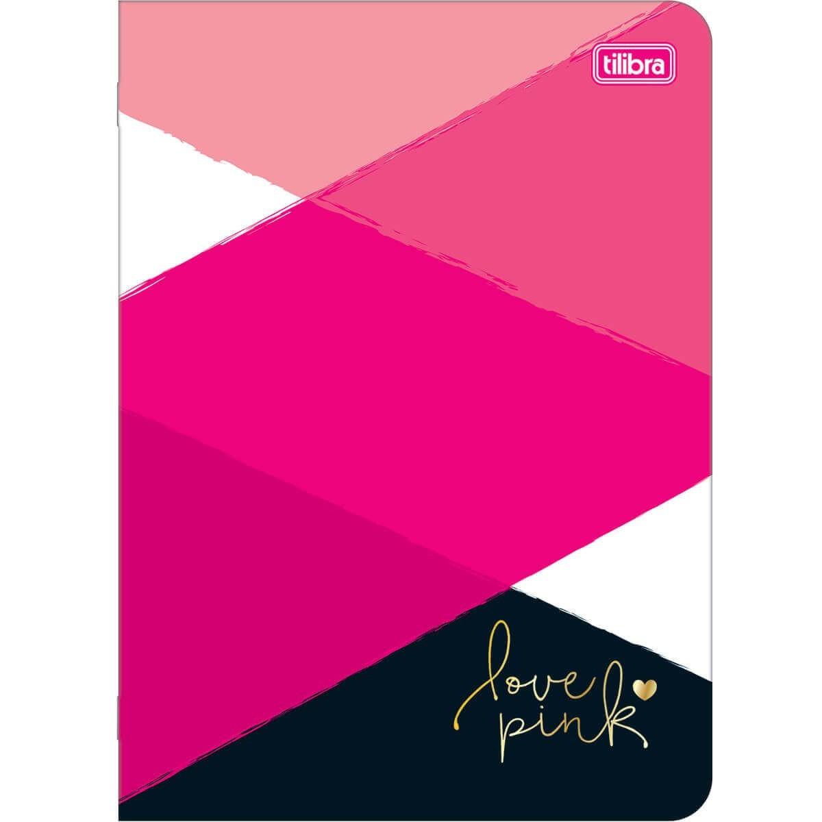 Caderneta Pautada Grande Love Pink Tilibra  - Bibiane Papelaria