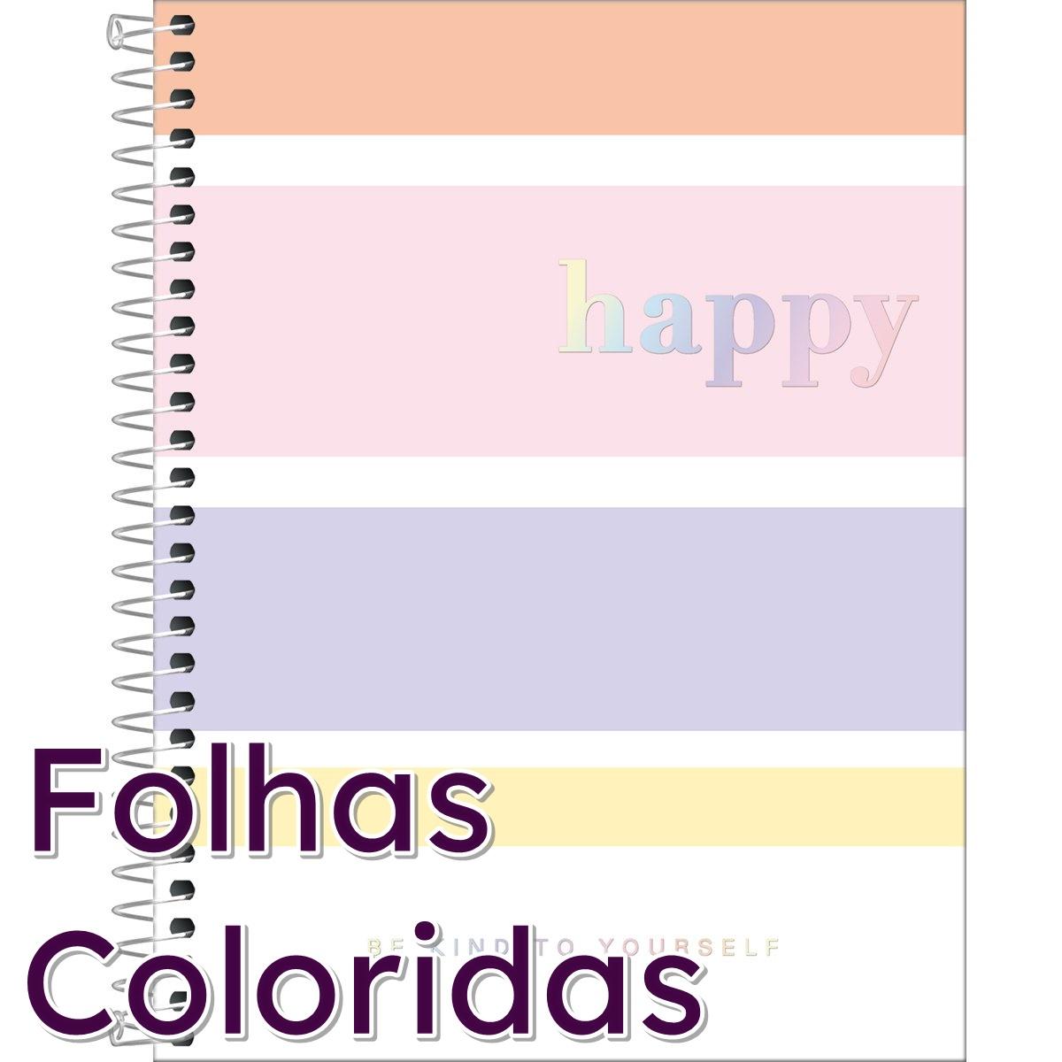 Caderno Colegial Happy Colorido Tilibra  - Bibiane Papelaria
