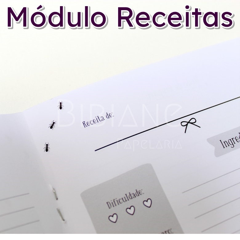 Caderno/Módulo/Caderneta Receitas Papelote  - Bibiane Papelaria