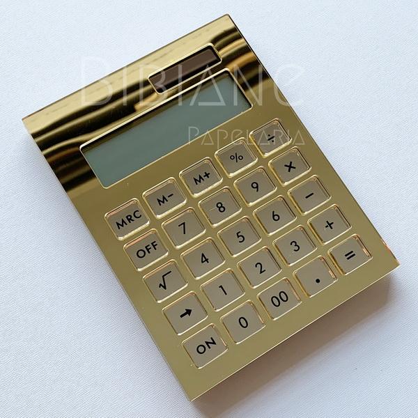 Calculadora Dourada Espelhada Luxo  - Bibiane Papelaria