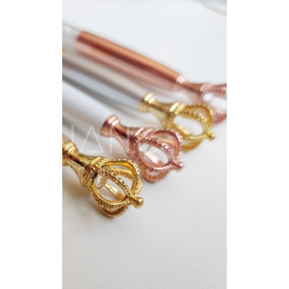 Caneta Cristal Coroa  - Bibiane Papelaria