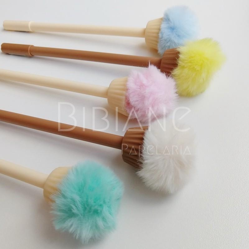 Caneta Cupcake Pompom  - Bibiane Papelaria