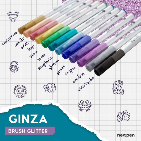 Caneta Ginza Brush Glitter Newpen (Kit)  - Bibiane Papelaria