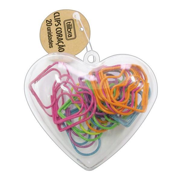 Clips Coloridos de Coração Tilibra  - Bibiane Papelaria