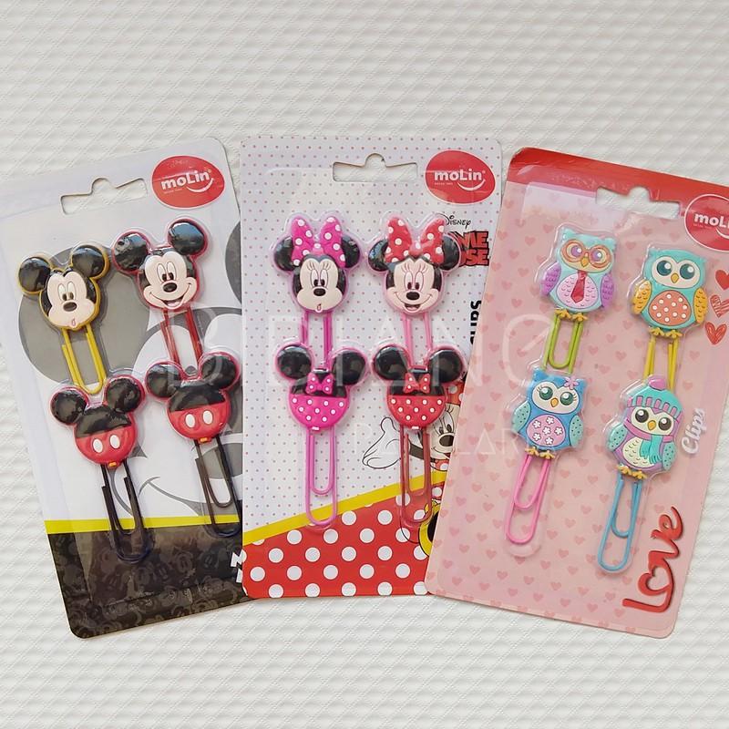 Clips Decorados Mickey e Minnie (4 unid.)  - Bibiane Papelaria