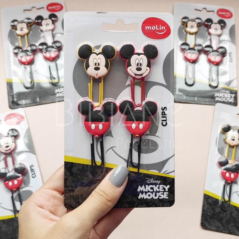 Clips Decorados Mickey (4 unid.) Molin  - Bibiane Papelaria