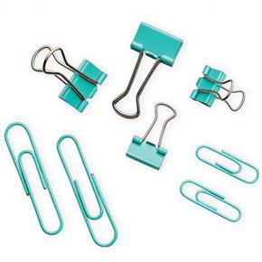 Kit Clips + Binder Acqua  - Bibiane Papelaria
