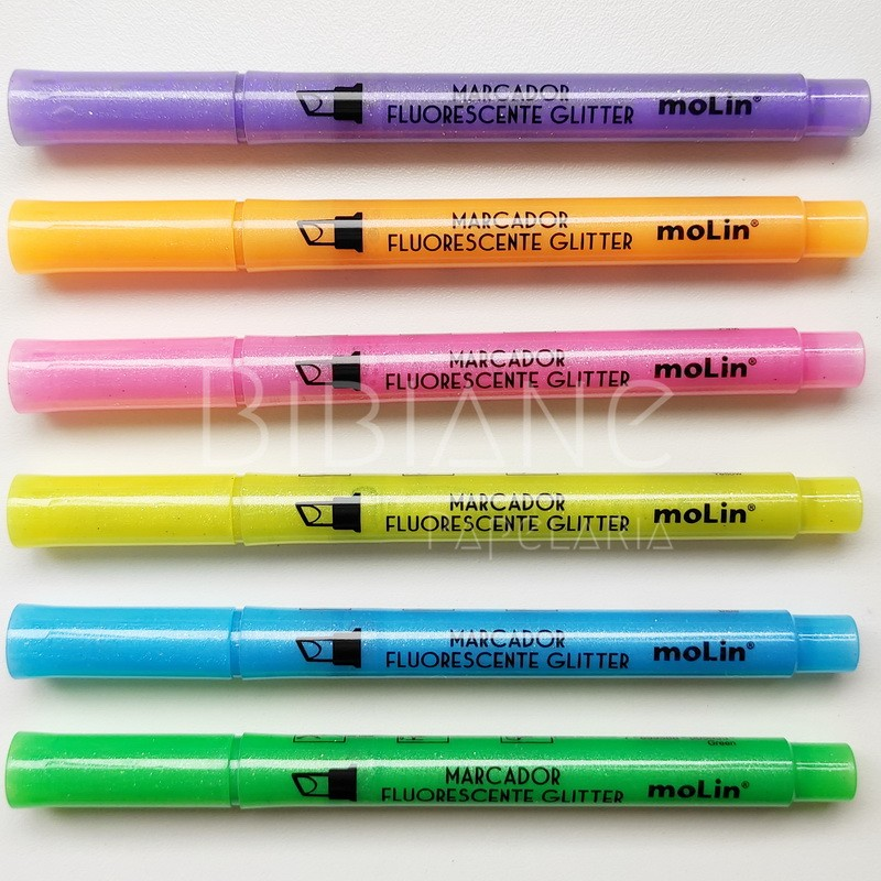 Marca-Texto Glitter Molin (Avulso)  - Bibiane Papelaria