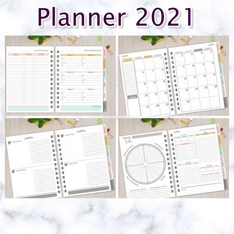 Planner 2021 Personalizado  - Bibiane Papelaria