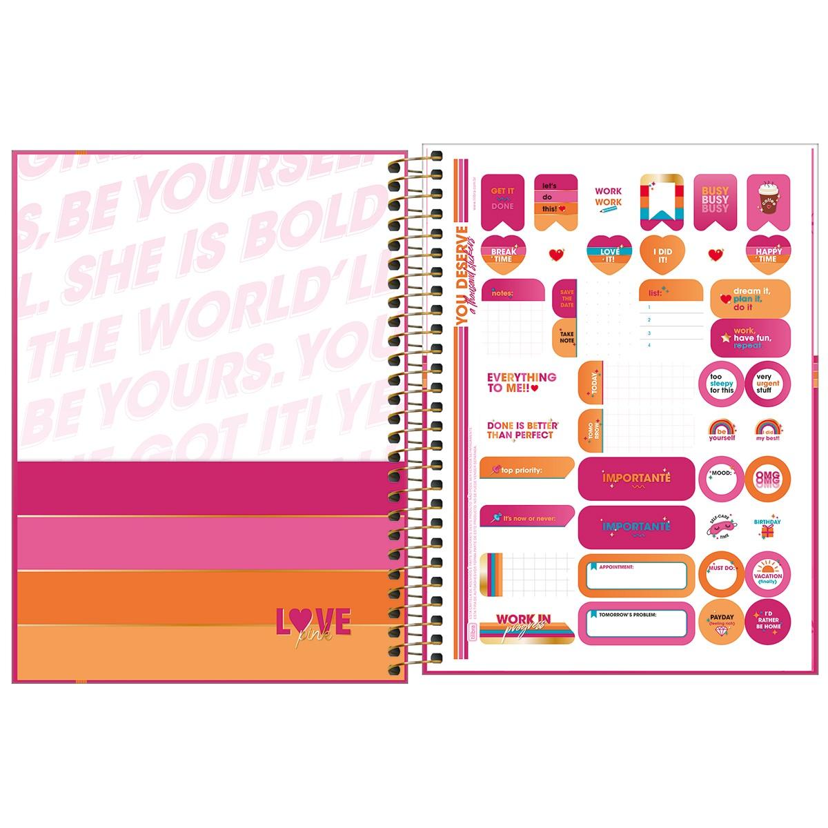Planner Espiral Love Pink 2022 Tilibra  - Bibiane Papelaria