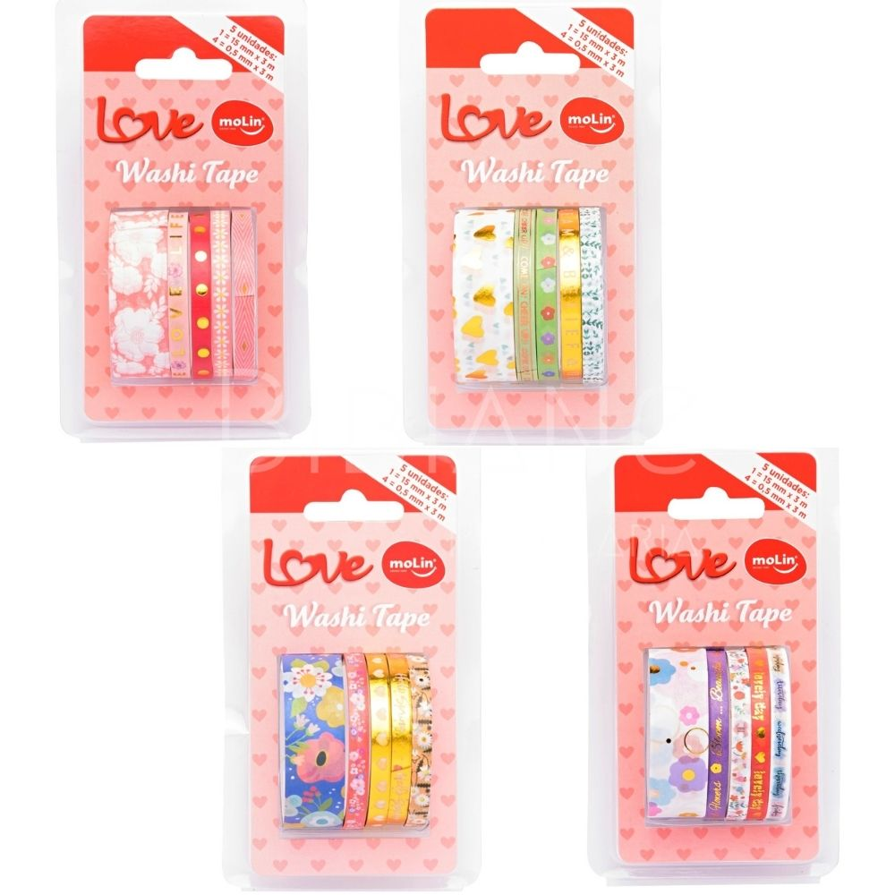Washi Tape Love (5 unid) Molin  - Bibiane Papelaria