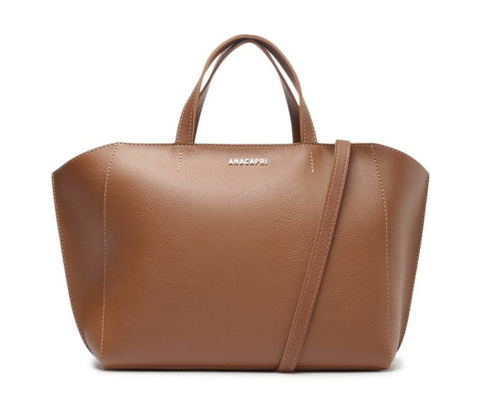 Bolsa Shopping Bag Média Zíper Marrom - Anacapri