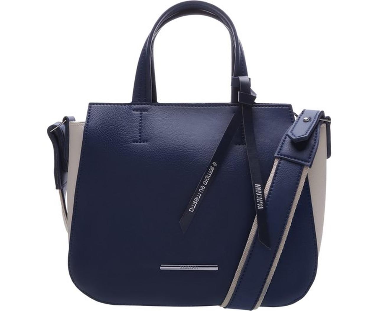 Bolsa Tote Azul e Off-White - AnaCapri