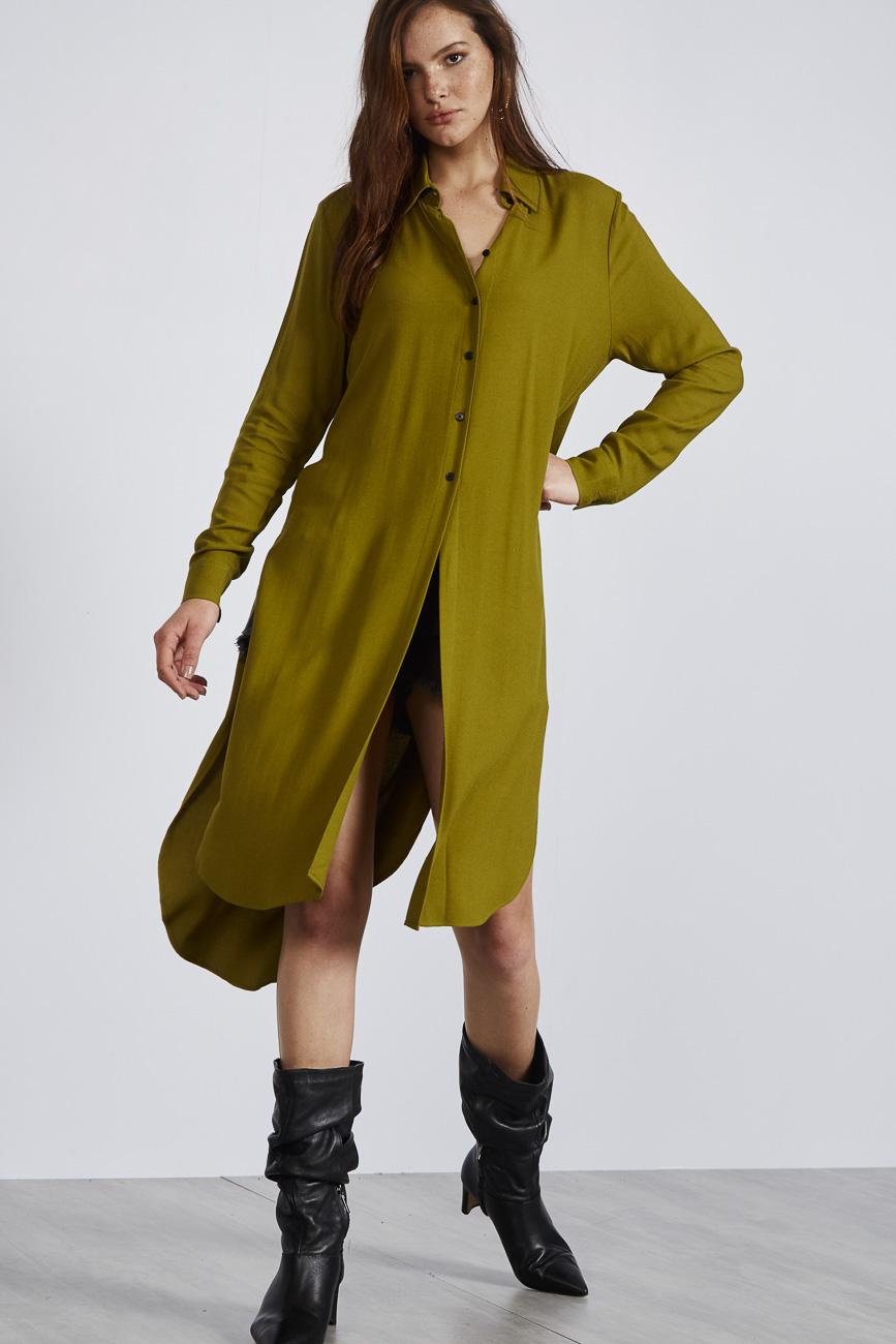 Camisa Alongada Verde Loras M - Colcci
