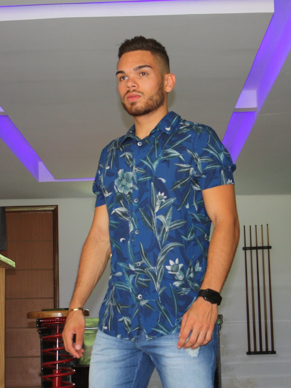 Camisa Azul Estampada Manga Curta- Maresia