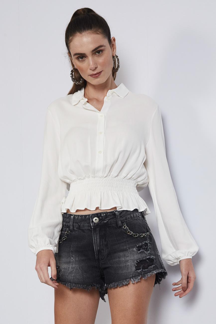 Camisa Camponesa com Elastico no Punho e Cintura Franzida - Colcci