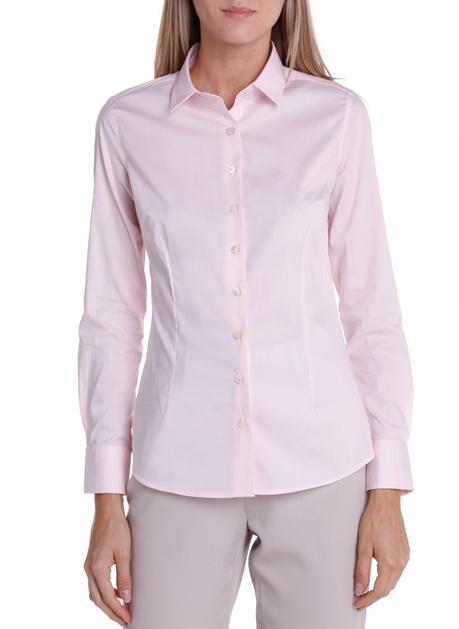Camisa Slim Manga Longa Logo Rosa - Dudalina
