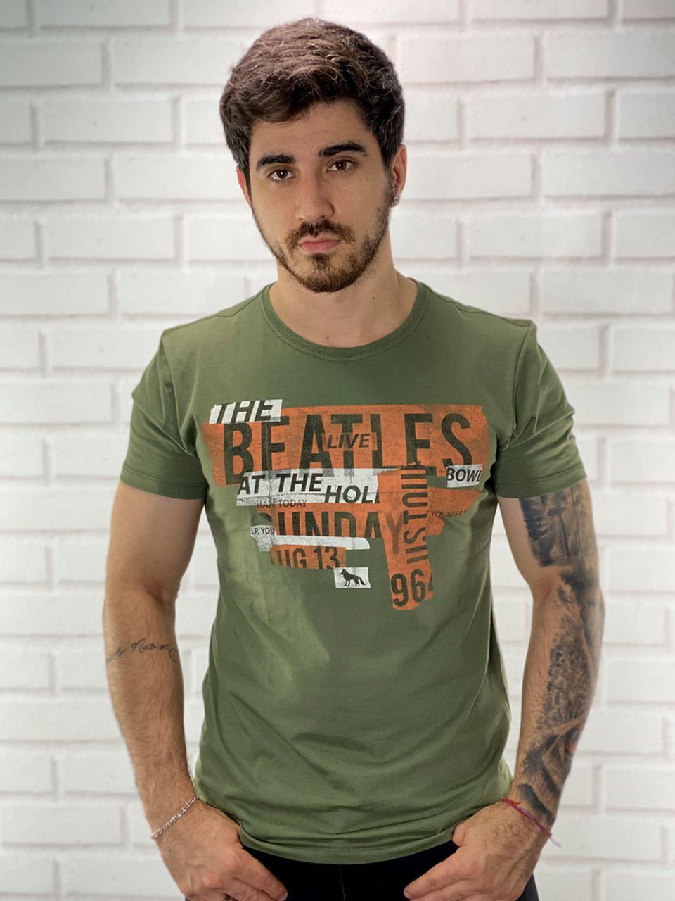 Camiseta Verde Oliva The Beatles Rock - Acostamento