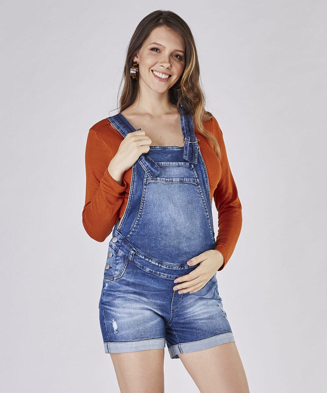 Macaquinho Jeans Moda Grávida - Emma Fiorezi
