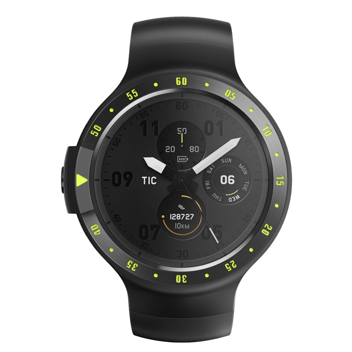 Relógio de Pulso TicWatch Sport SmartWatch com Pulseira de Borracha Unissex PXPX WF12066 - Preto