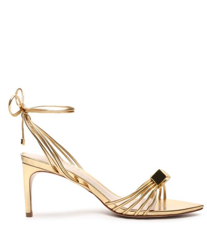 Sandália Cube Lace-up Glam Gold - Schutz