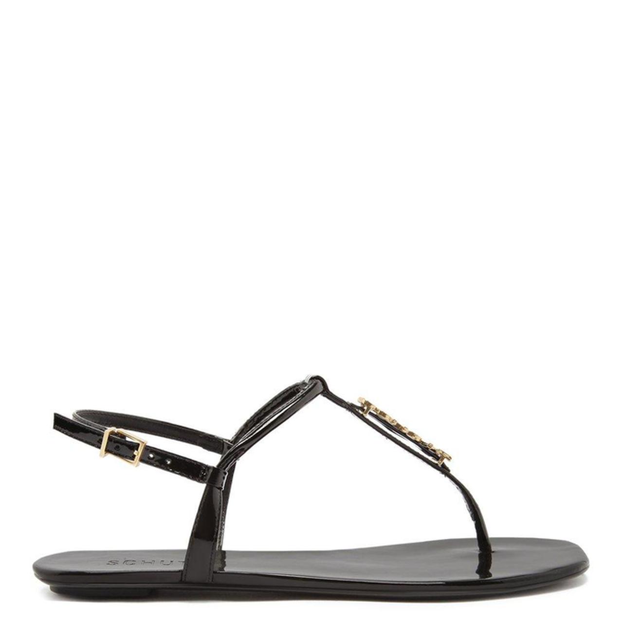 Sandália Flat Schutz Crystal Minimal Black