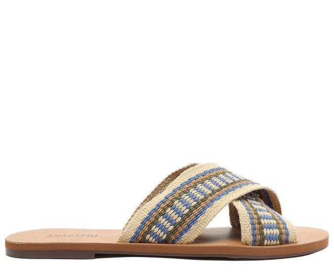 Sandália Rasteira Azul Natural Tiras Cruzadas - Anacapri