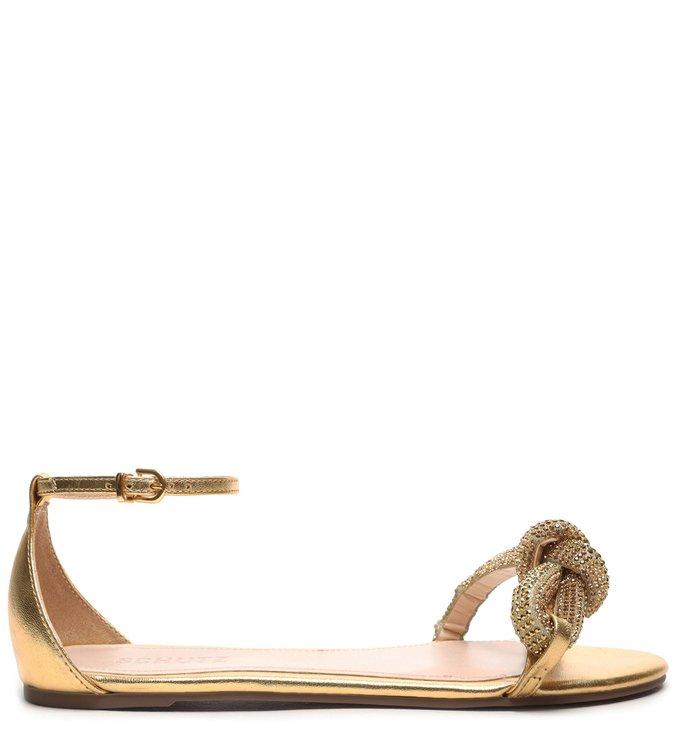 Sandália Rasteira Knot Glam Gold - Schutz