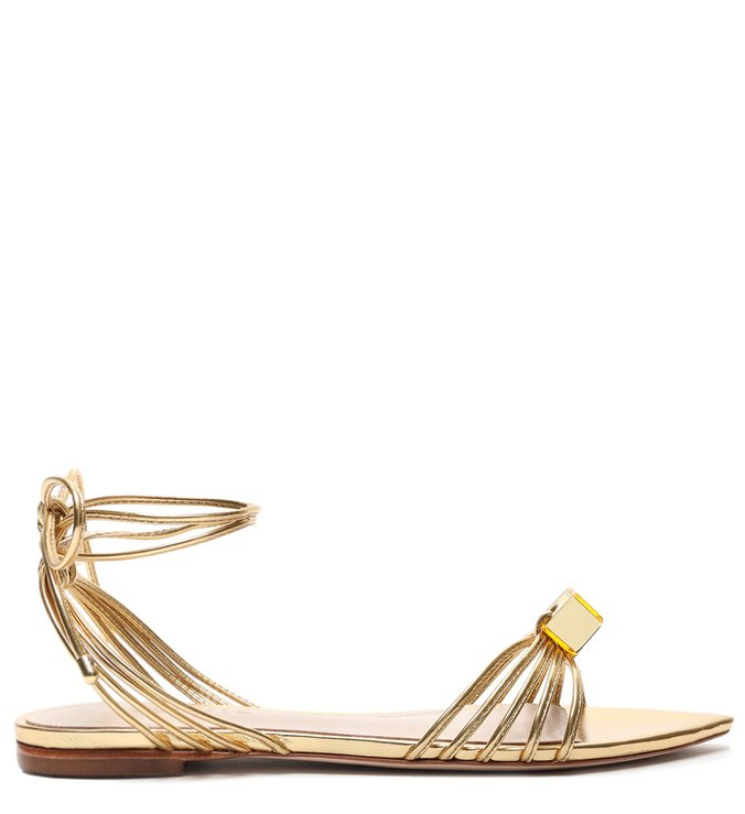 Sandália Rasteira Lace-up Cube Gold - Schutz