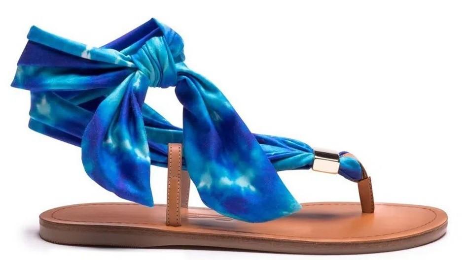 Sandália Rasteira Lycra Tie Dye Azul - Santa Lolla
