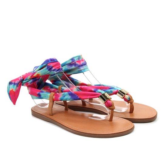 Sandália Rasteira Lycra Tie Dye Colorida - Santa Lolla