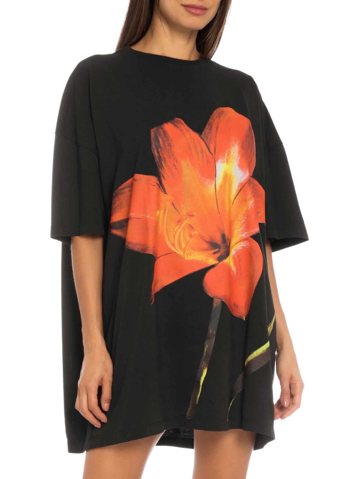 T-shirt Maxi Flor Preto - Farm