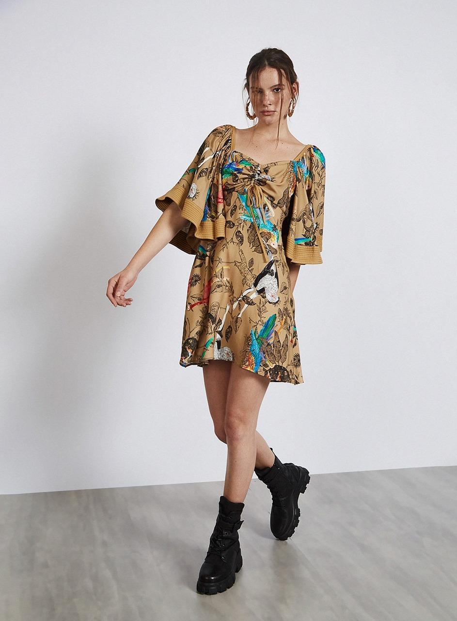 Vestido Ave Mangas Com Babados - Colcci