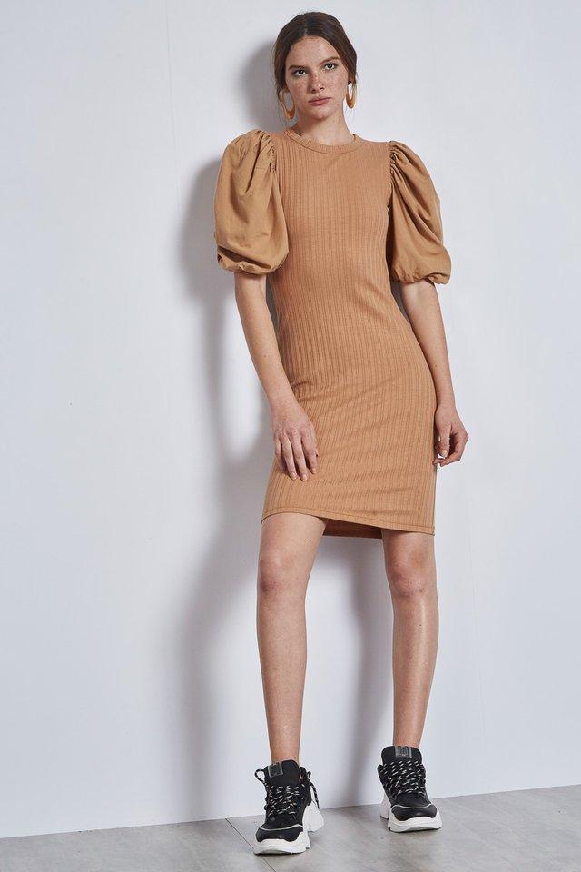 Vestido Curto Canelado Manga Bufante - Colcci