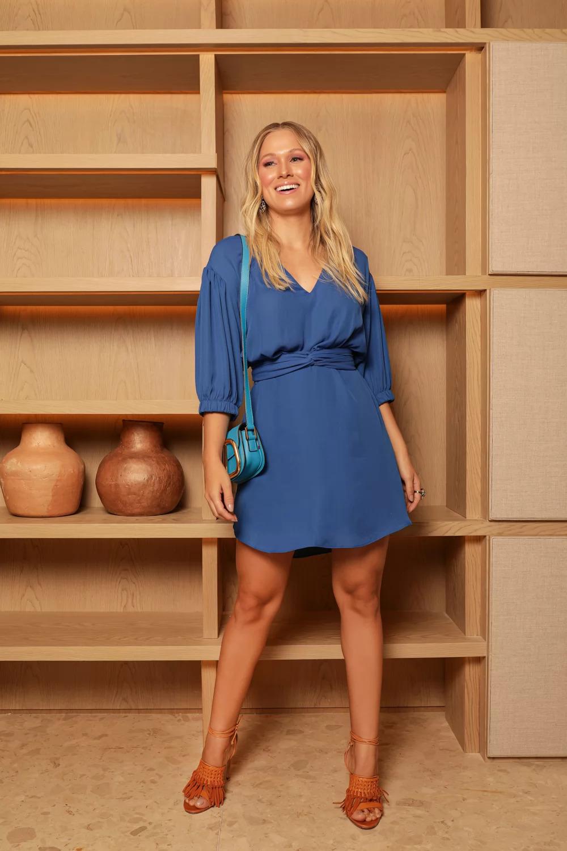 Vestido Curto Com Amarração Azul - SAX