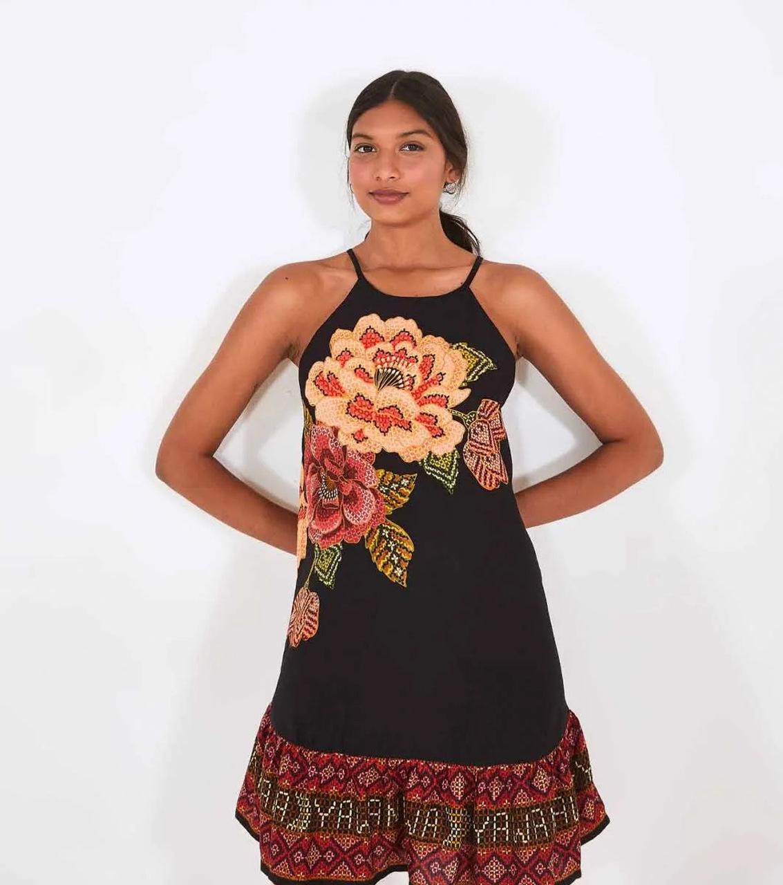 Vestido Curto Cropped Floral Yawanawa - FARM