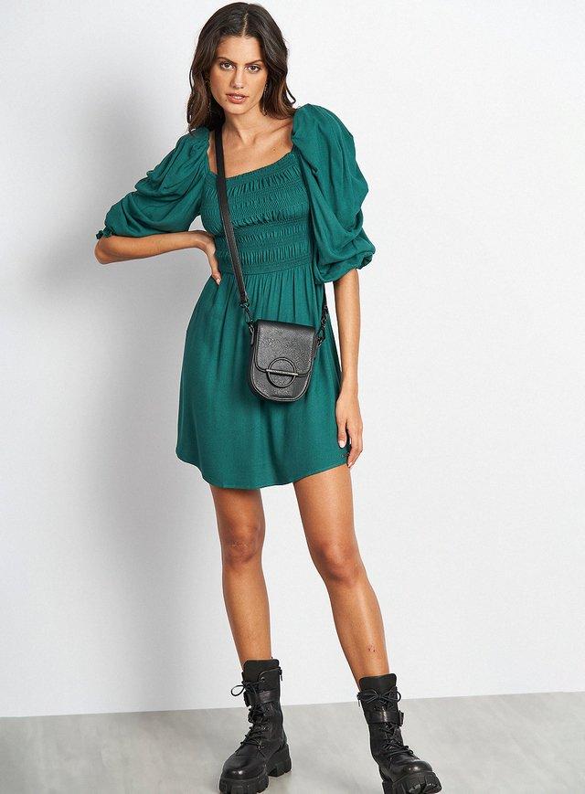 Vestido Curto Manga Bufante Decote Com Elástico Verde Rativo - Colcci