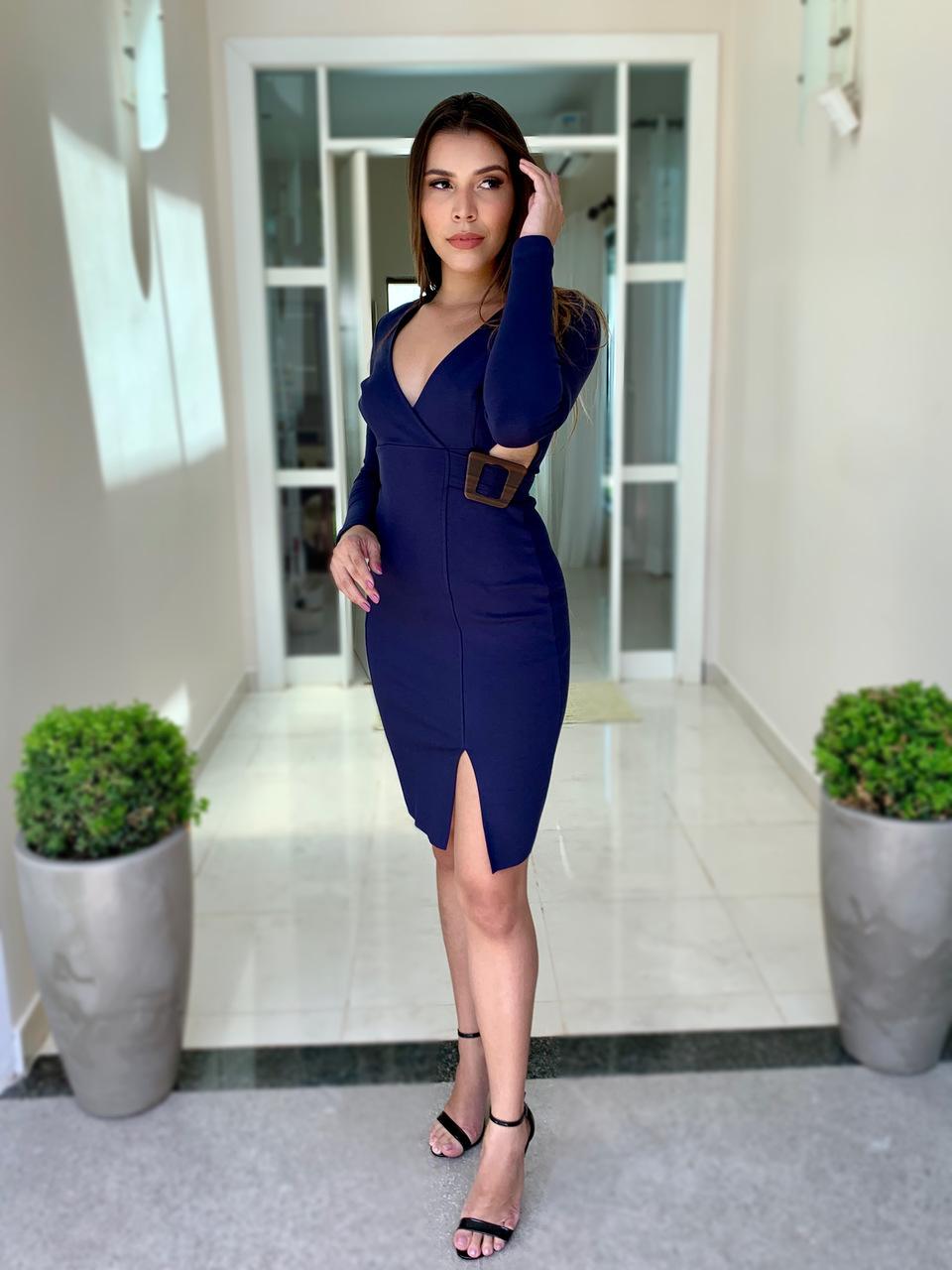Vestido Curto Manga Longa Fivela Azul-Marinho P - Colcci