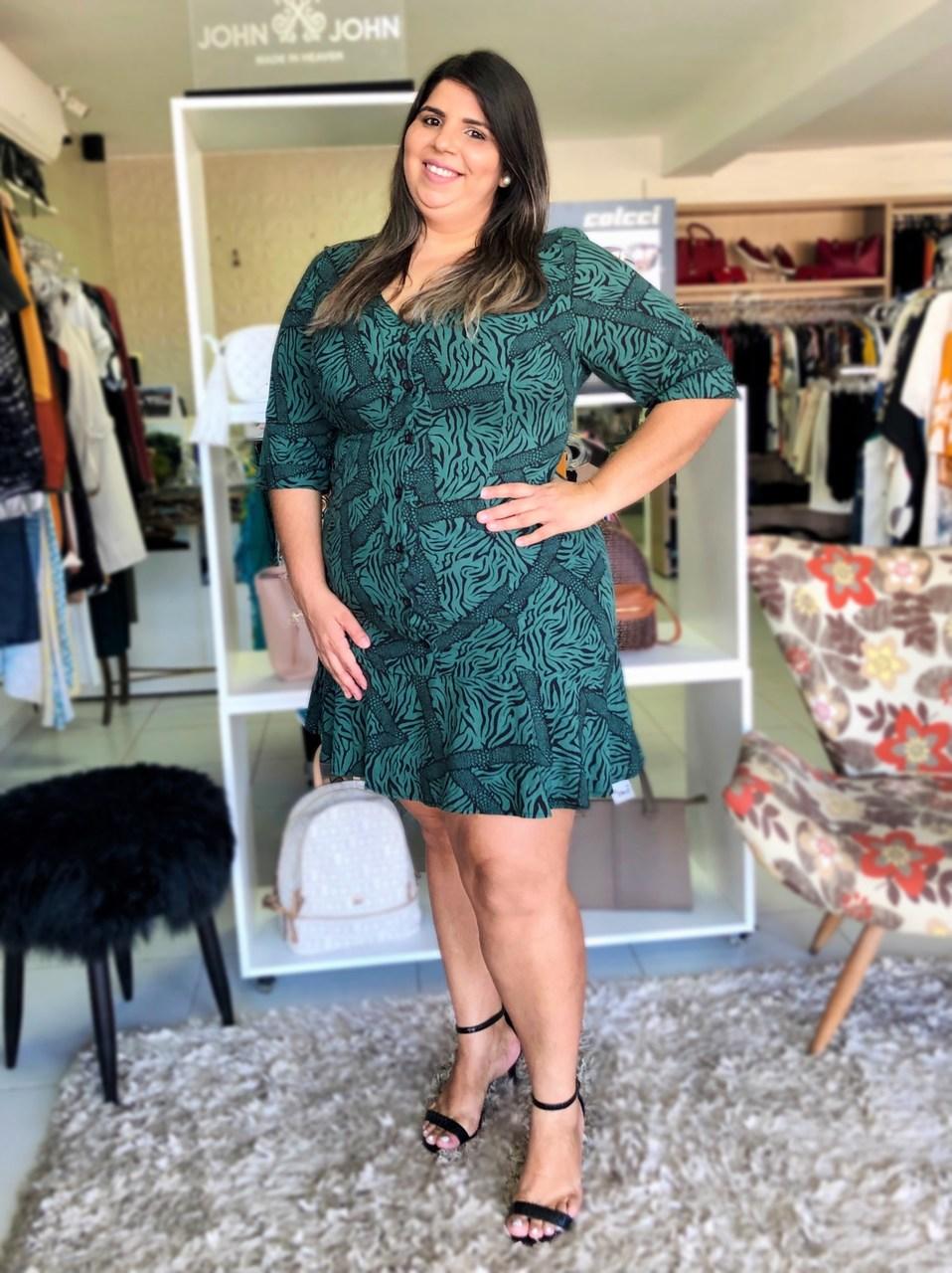 Vestido Estampado Plus Size Verde - Program
