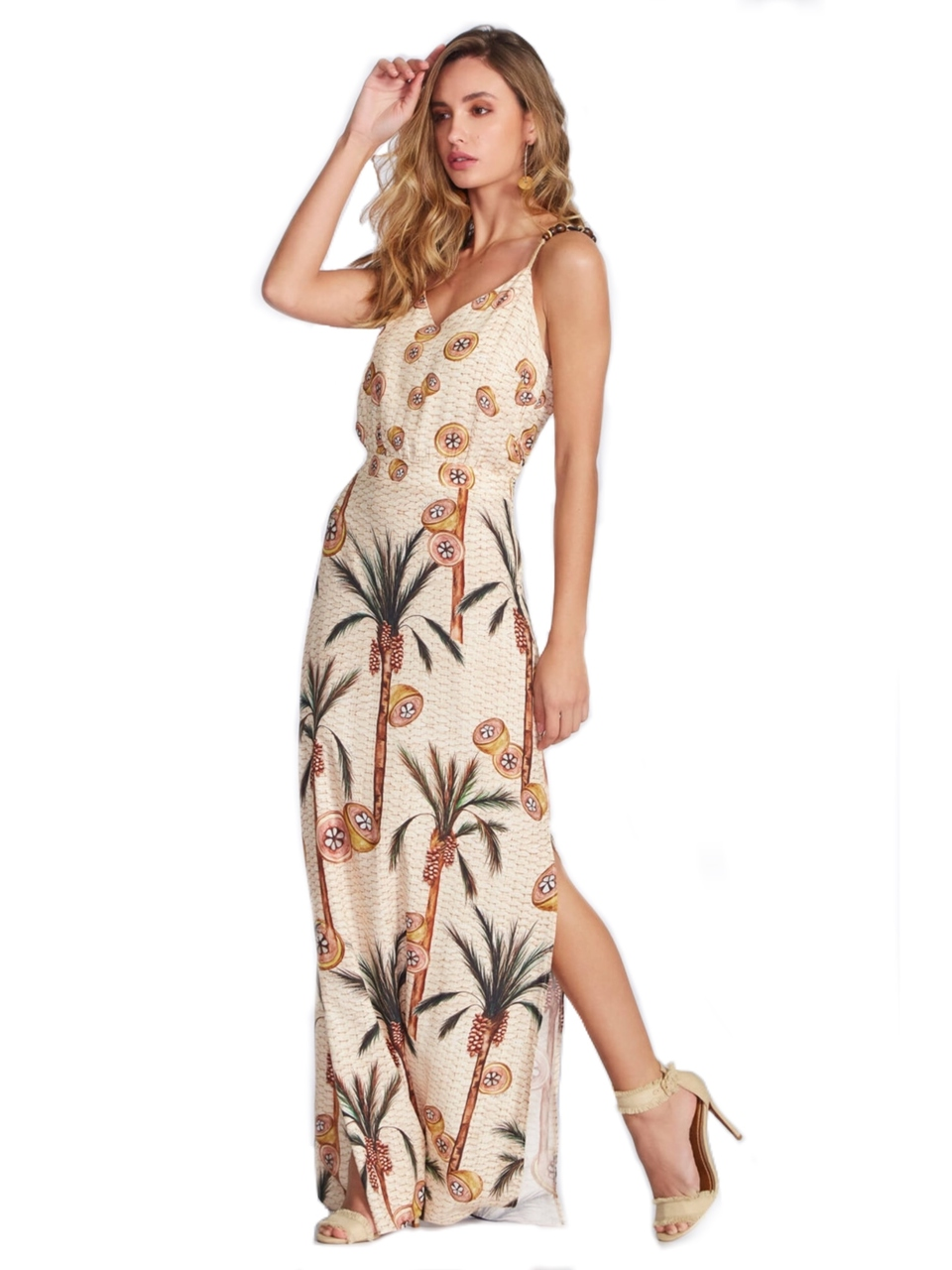 Vestido Feminino Longo Viscose - Flor de Lis