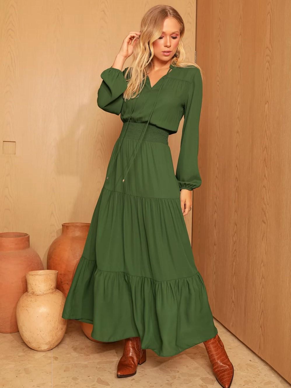 Vestido Longo Decote Amarração com Elástico Verde Escuro - SAX
