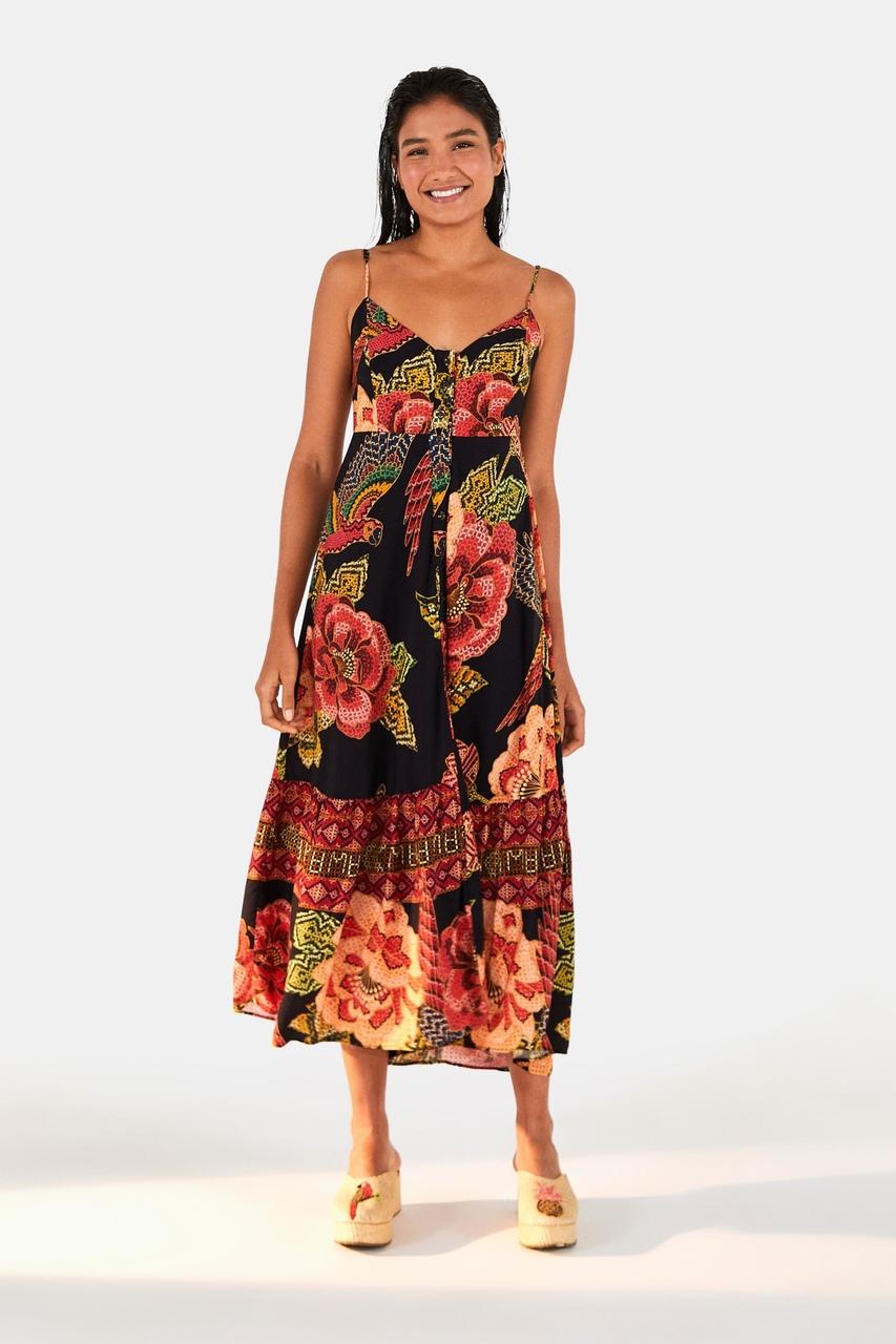 Vestido Midi Cropped Floral Yawanawa - FARM